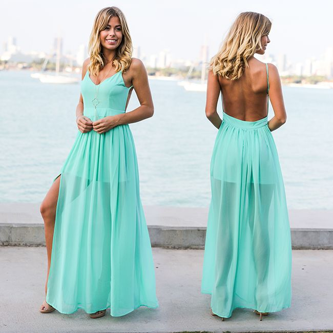NEW COLOR! Our best selling open back maxi is here in Mint! Perfect for Spring. Shop at savedbythedress.com
