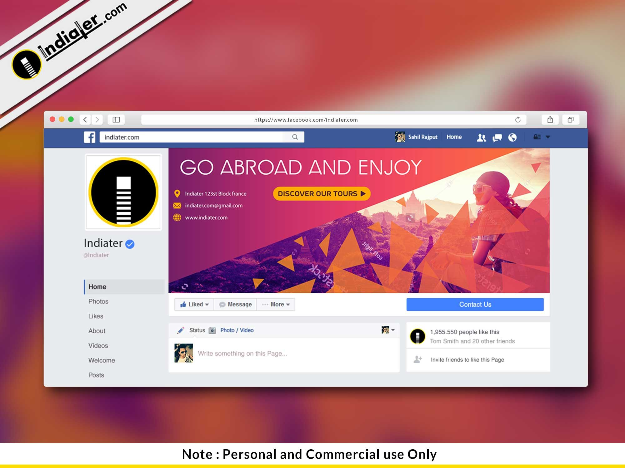 Free Travel Facebook Cover Psd Template Indiater Within Facebook