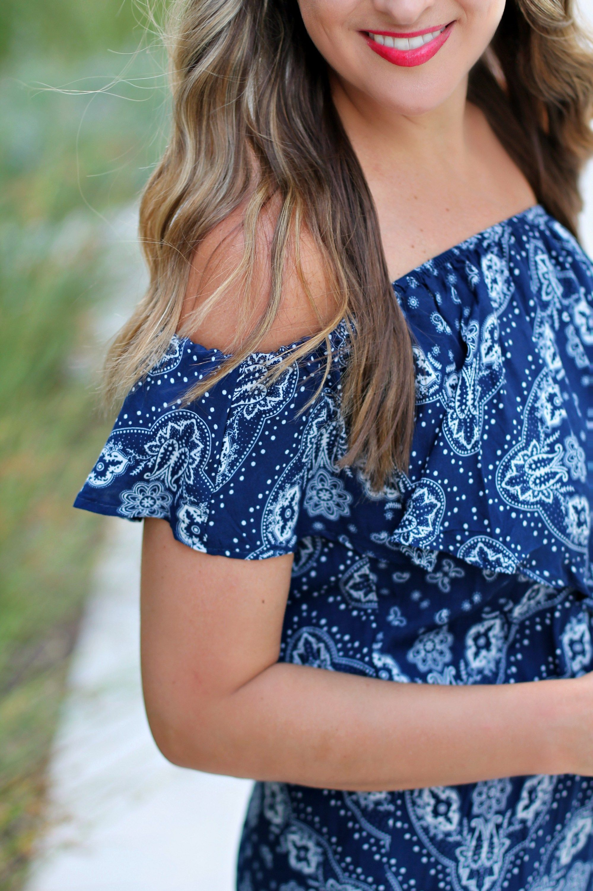 Navy Printed Pom Pom Romper  #LexWhatWear - #styleblogger #fashionblog #blog #style #outfit #fashion #ootd #nashvillestyle #wearing #lookbook #outfitideas #styleinspo