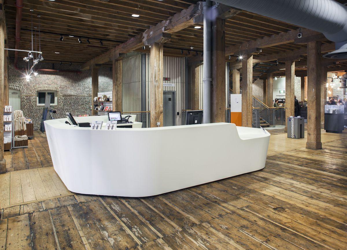 Home gt reception desks gt 8 curved maple glass top reception desk - Formal Reception Desk With Tv On The Back Google Search Reception Desksmacssolid Surfacereceptionsthe Back