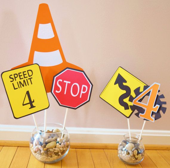 Construction Site Boys Birthday Centerpiece Road Signs On