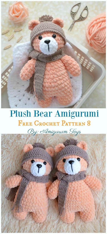 Kostenlose Amigurumi Bär Spielzeug Softies Häkelanleitungen #bearplushtoy