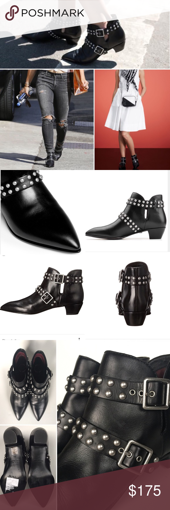 """Marc By Marc Jacobs Studded Black Leather Booties Supple Italian leather shapes these ankle boots that fuse smart retro-style design with a modern sensibility. Their sleek silhouette, pointy toe and studded straps will sharpen casual wear and add an unexpected bit of attitude to dressier looks. 1 1/2"""" heel with 4"""" boot shaft. Adjustable straps with buckle closures. These were floor model and have practically no signs of wear. Tiny imperfection in the leather in between the straps noted in…"""