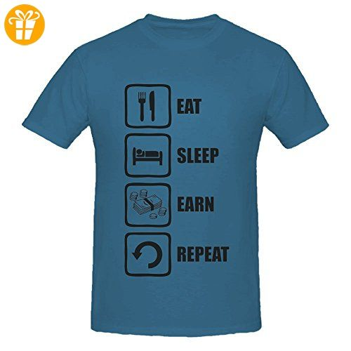 Eat Sleep Earn Repeat Funny Black Money Graphic Men's T-Shirt X-Large (
