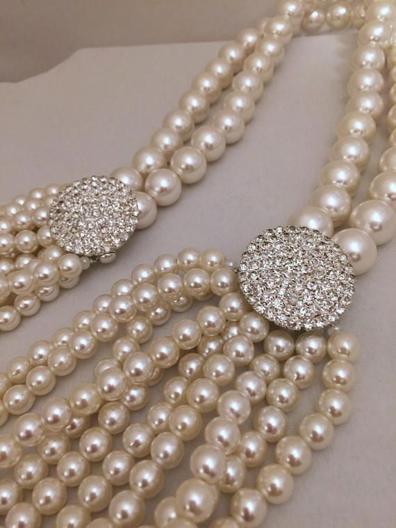 42901faa98e88 Multi Strands Layered Pearl Necklace with Crystal Clasp | Products ...