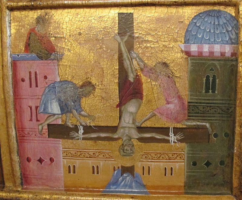 Guido di Graziano - San Pietro in trono, dettaglio Crocifissione - 1278-1302 ca. - Pinacoteca Nazionale di Siena.