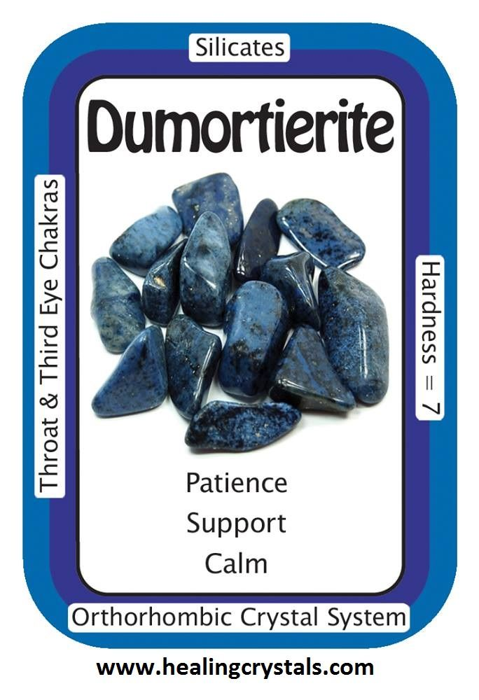"""Dumortierite, """"My life is infused with tranquility and harmony.""""  Dumortierite brings a feeling of relaxation, calm and harmony, and can be used to reduce stress-related conditions like headaches and tension.  Dumotierite: www.healingcrystals.com/advanced_search_result.php?dropdown=Search+Products...&keywords=dumotierite  Crystal Cards: www.healingcrystals.com/Crystal_Information_Cards___Oracle_Decks_1__2_and_3.html  Code HCPIN10 = 10% discount"""