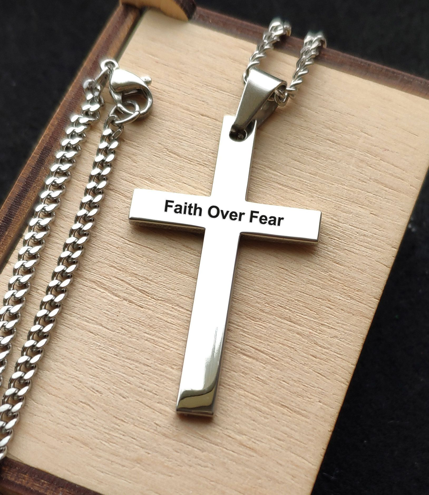 Personalized Cross Necklace,Stainless Steel Custom Men Necklace,Engrave Religious Necklace,Necklace For Men gift for dad grandfather