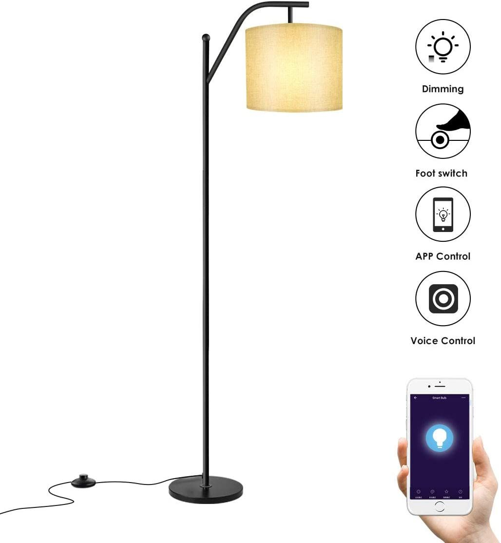Floor Lamp Wellwerks Smart Light With Wi Fi Bulb Classic Standing Industrial Arc Light With Lamp Shade Modern Floor Lamp For Bedroom Living Room Study Ro In 2020 Modern Floor Lamps