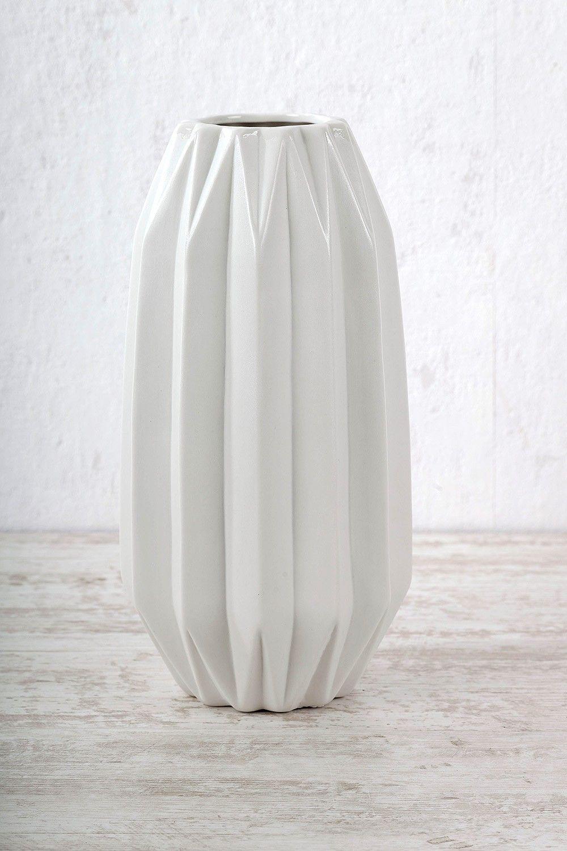 Vase mit Rillen Falten Weiß - 24,95€