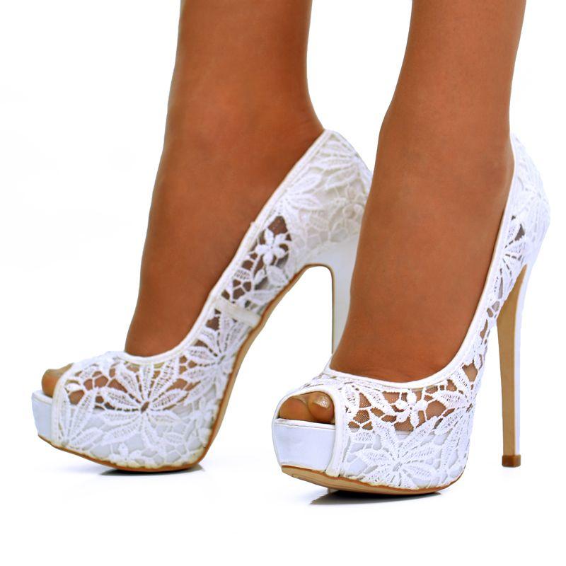 White Flower Lace Stiletto High Heel