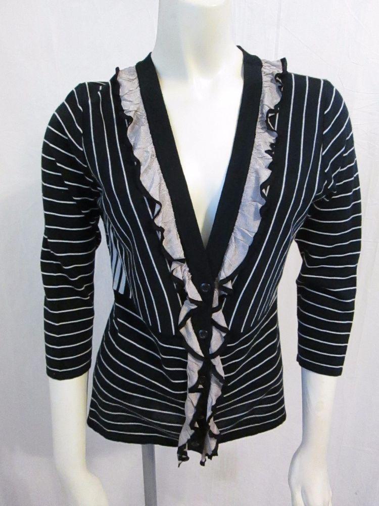CAbi The Flirt #276 Black Tan Ruffle Striped 100% Cotton Thin ...