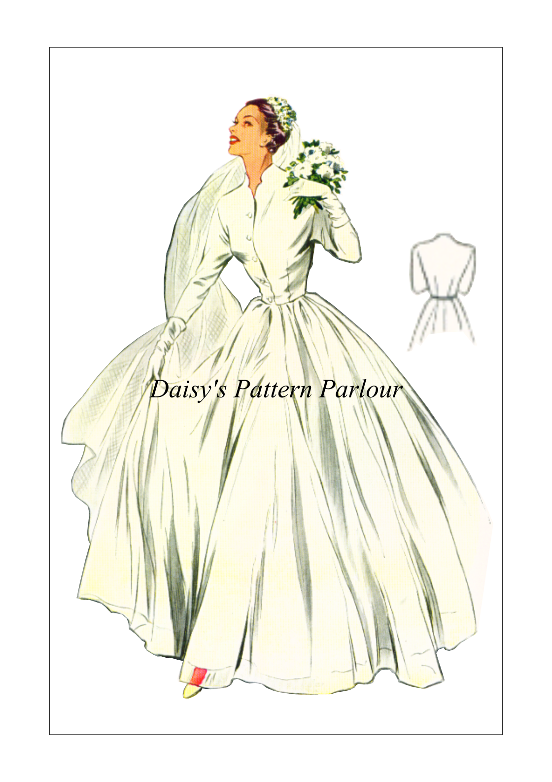 Patterns for wedding dresses   Vintage Sewing Pattern Wedding Dress Gown Evening Prom Daisys