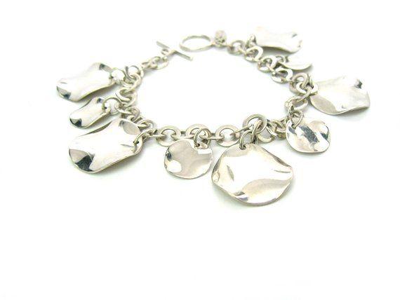 Wavy Discs Sterling Silver Bracelet, Minimalist Petal