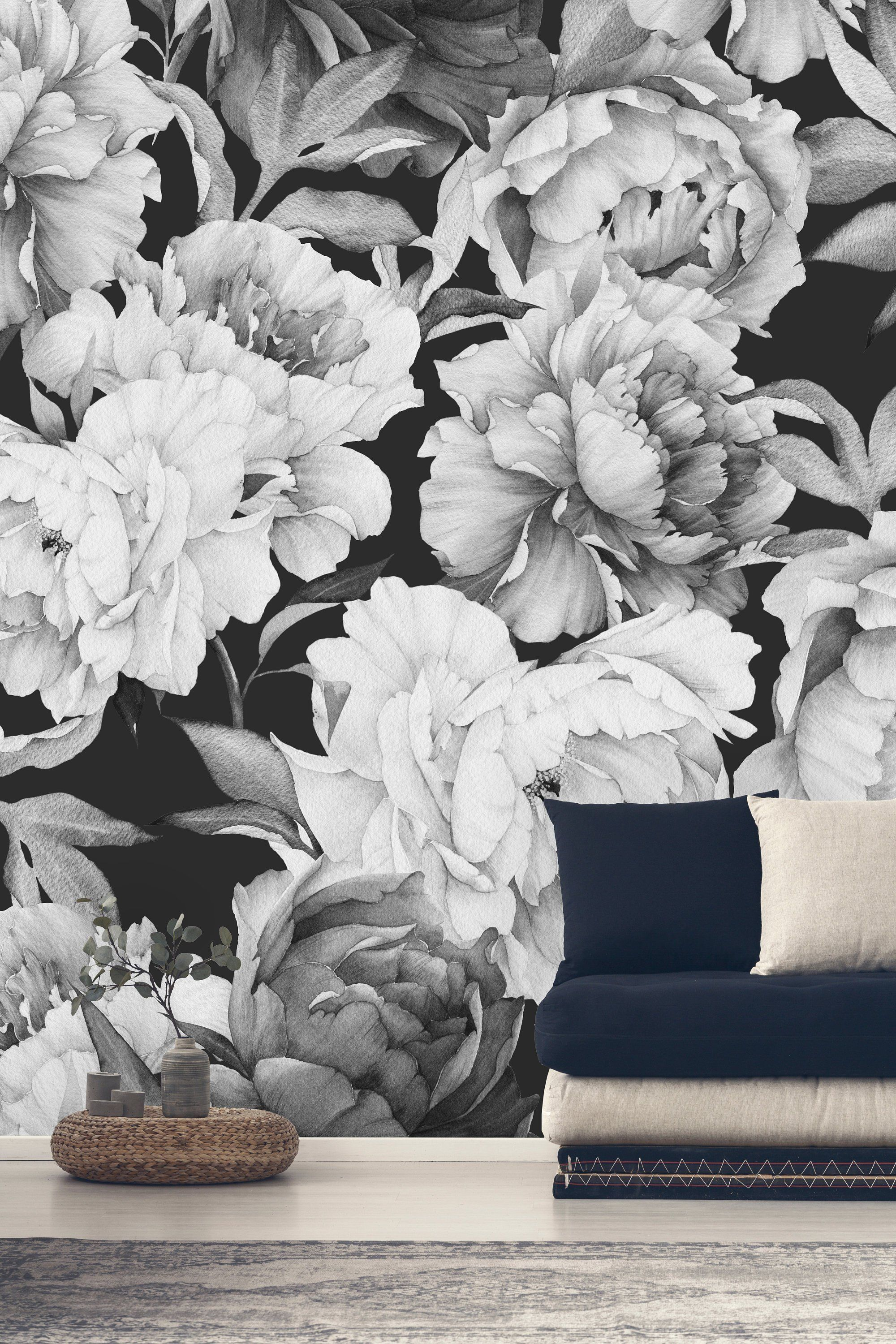Large Peony On Black Background Removable Wallpaper Peel And Stick