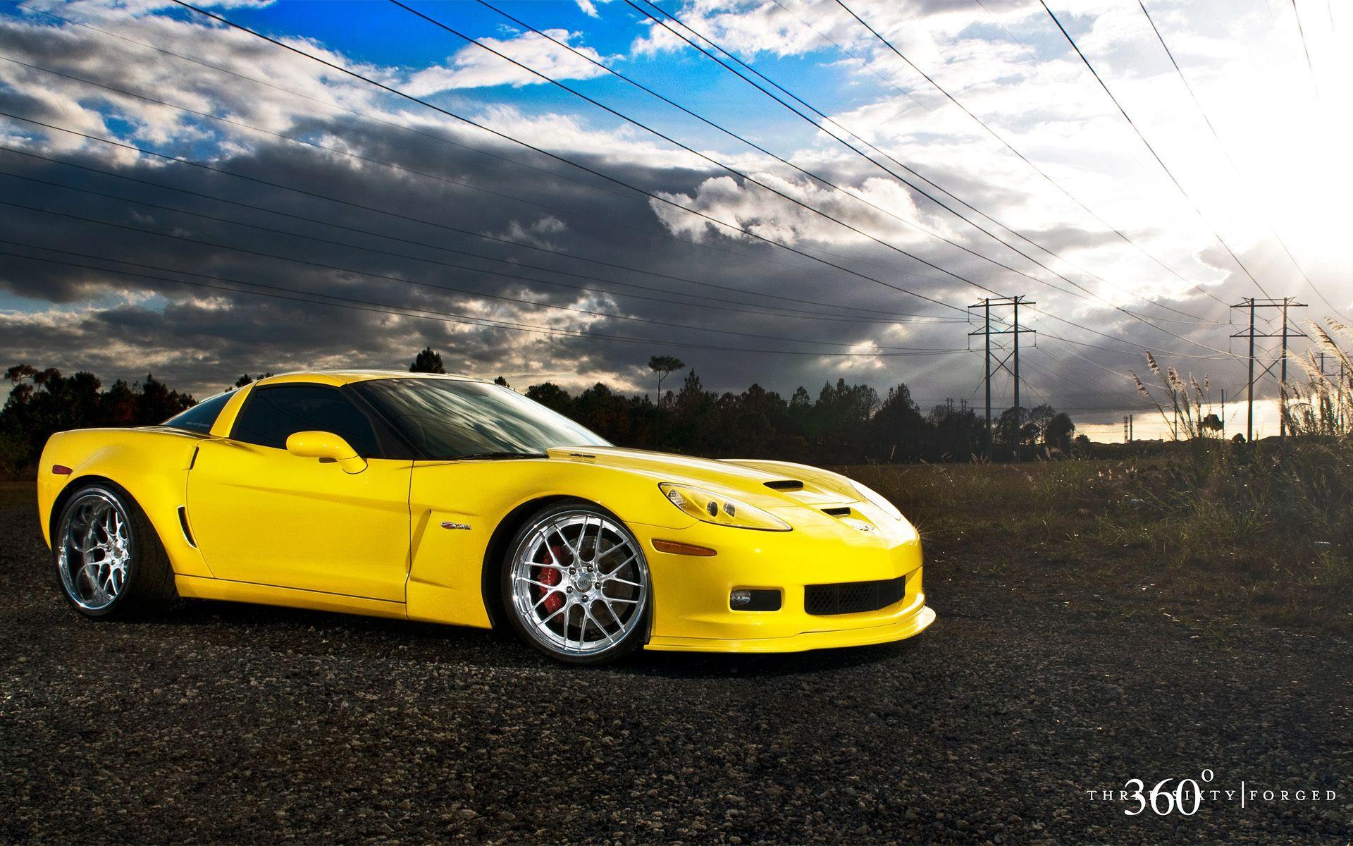 Cool Yellow Chevrolet Corvette Z06 Widescreen Wallpaper