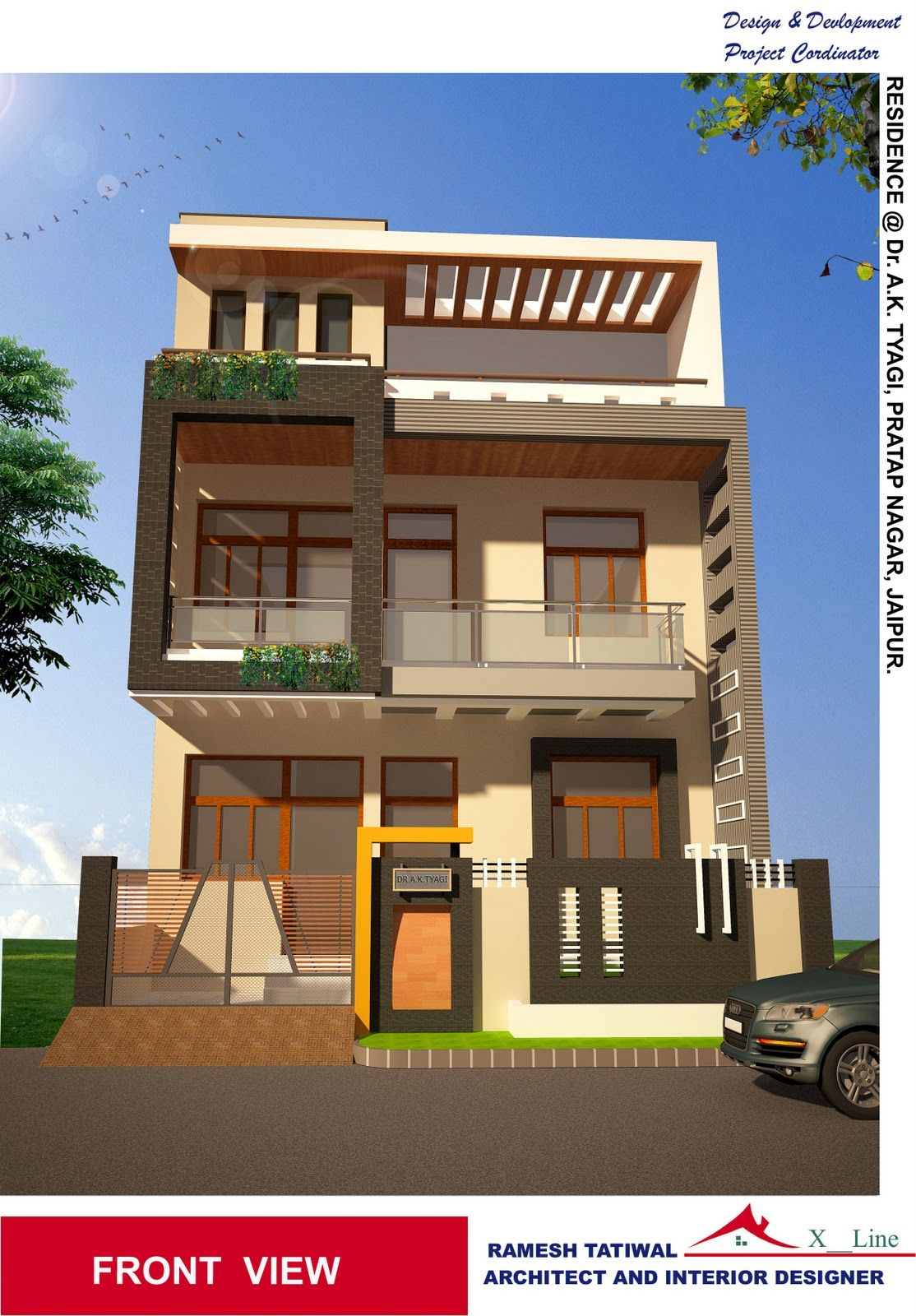 New architectural designs for Front view of duplex house in india