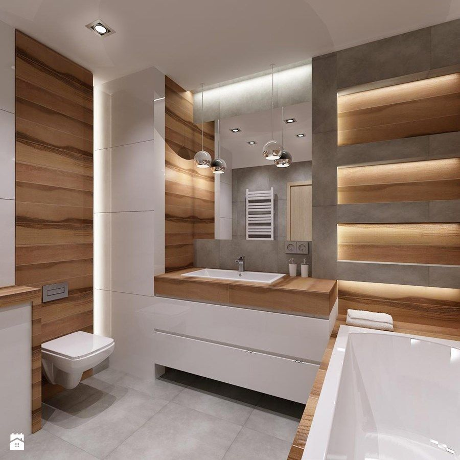 łazienka Drewno Plus Szarość łazienka Styl Nowoczesny