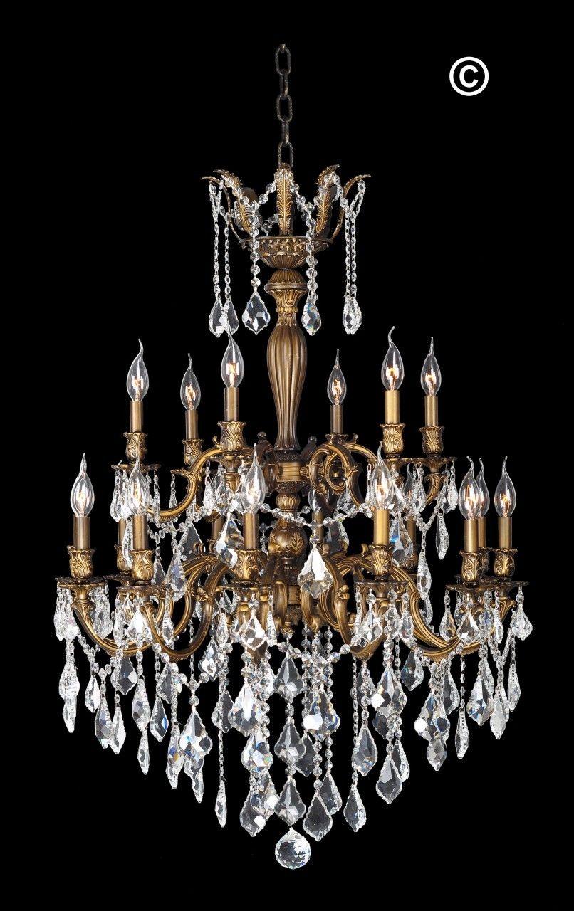 Designer Chandelier Australia Pty Ltd - AMERICANA 18 Light Crystal  Chandelier - Antique Brass Style,
