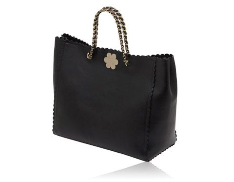 Mulberry - Oversized Cecily Tote with Flower in Black Classic Calf