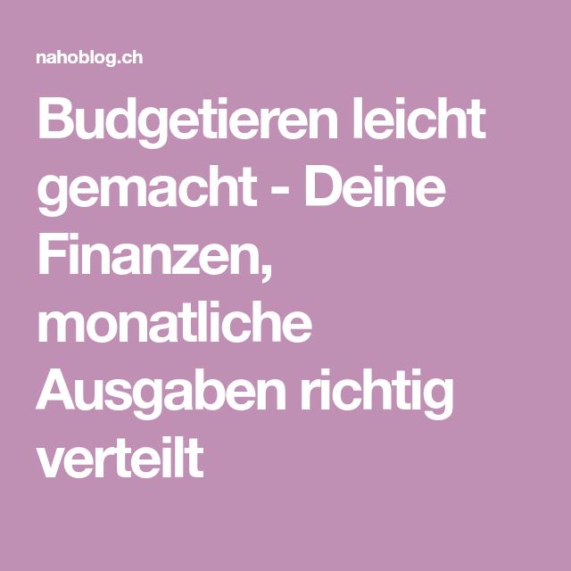 Budgetieren leicht gemacht - Deine Finanzen, monatliche Ausgaben ...