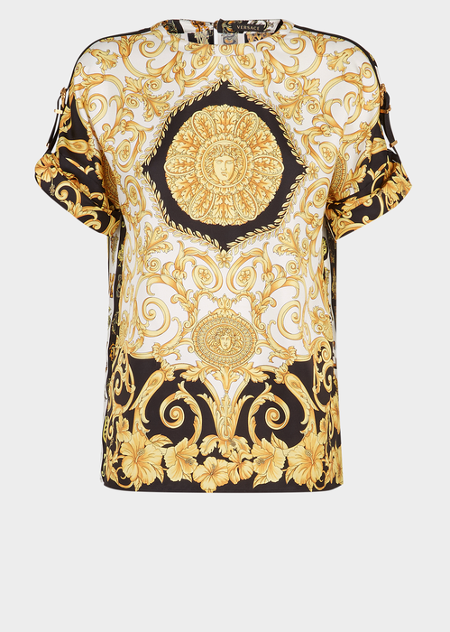 8fd4a8ee8b Gold Hibiscus & Zeus Print Silk Twill Top for Women   US Online ...