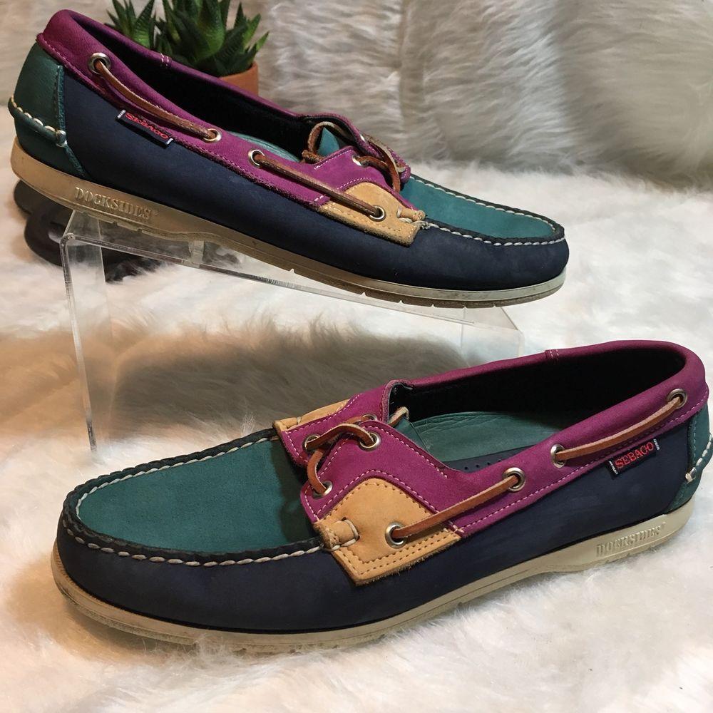 d28763b6c34fb5 Sebago Docksides Mens Size 9.5 Wide Tri-Color Deck Boat Shoes  Sebago   DocksidesBoatDeckShoes