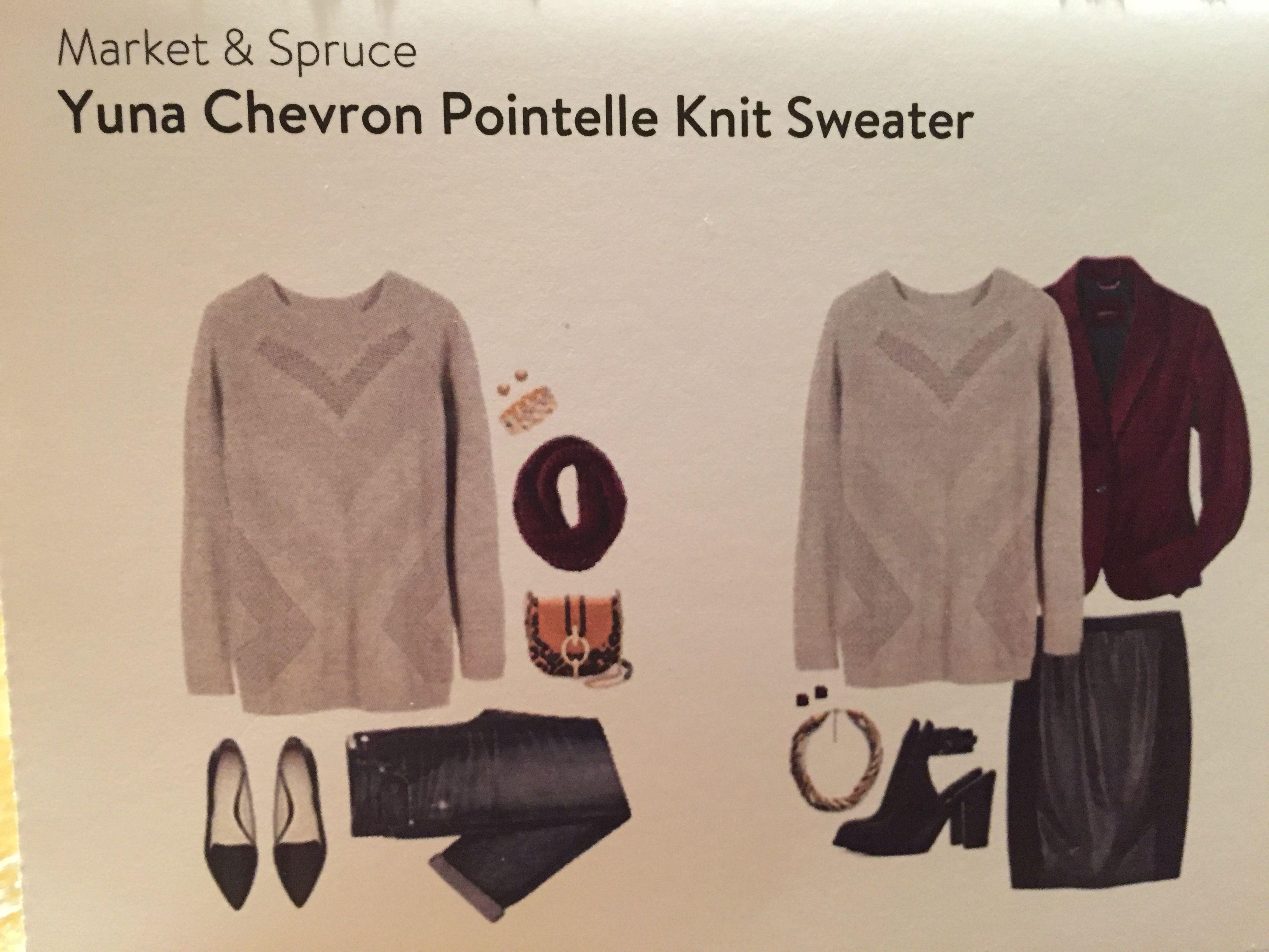 Market & Spruce Yuna Chevron Pointelle Knit Sweater