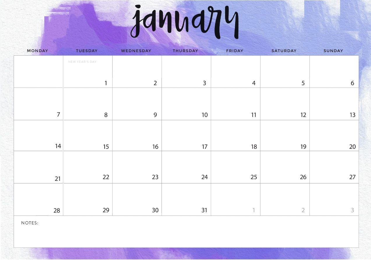 January 2019 Desk Calendar Printable Template Planner