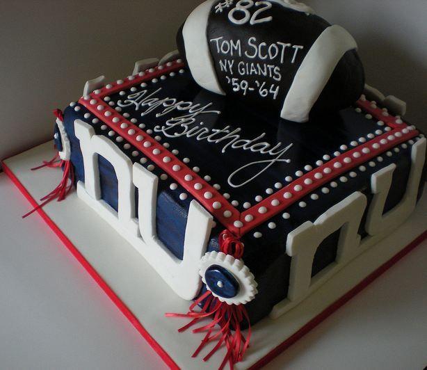 New York Giants Football Theme Birthday Cake With Football On Top