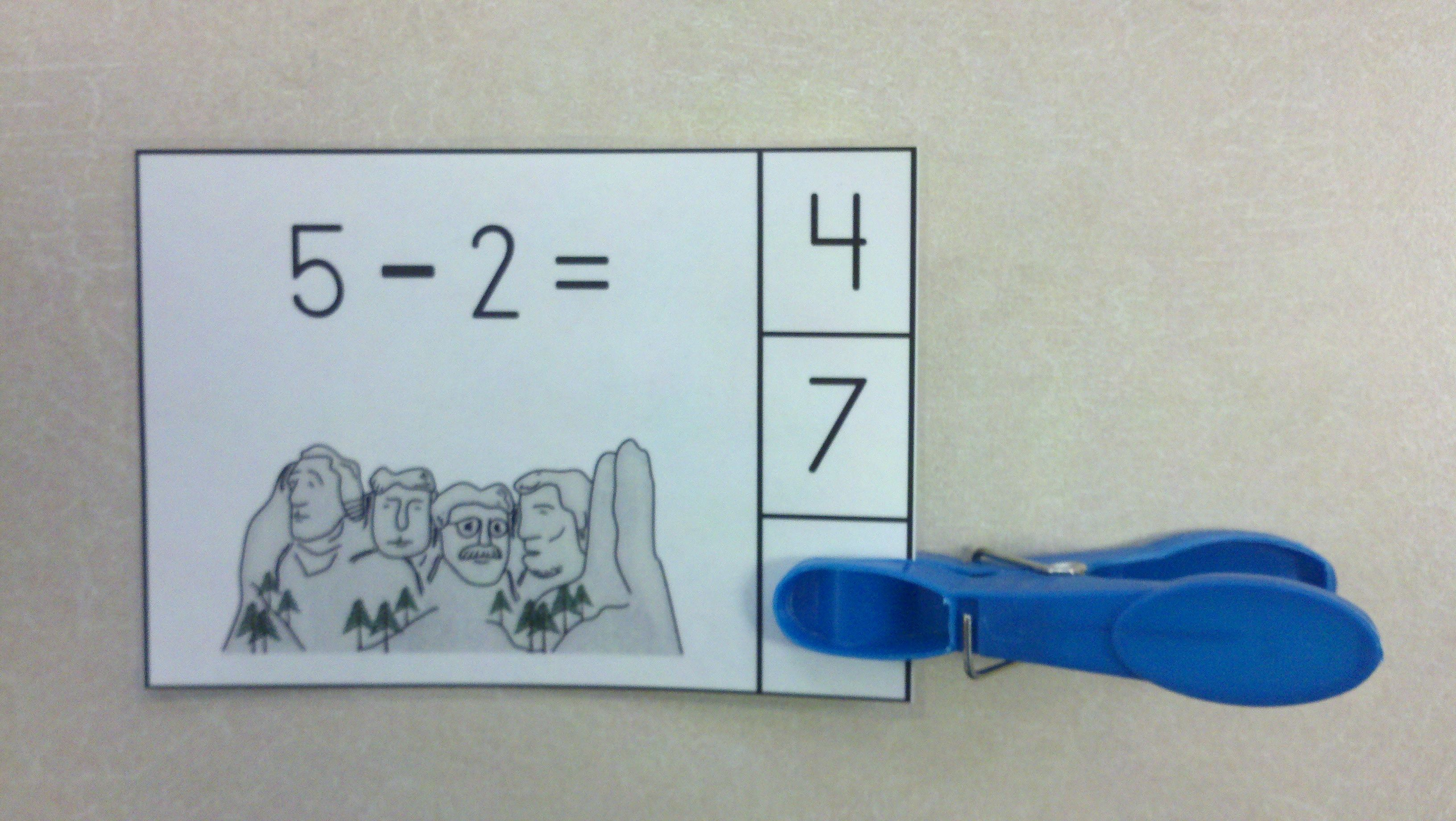 America Rocks Subtraction Within 10 Clip Card Math