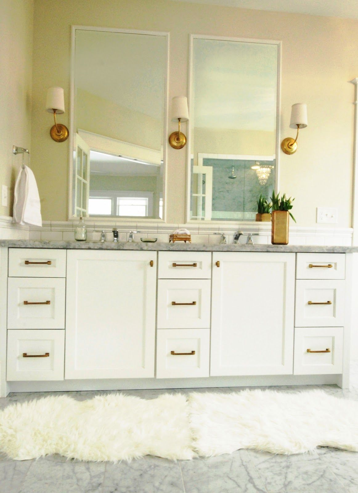 White gold master vanity love the tall mirrors gold for White and gold bathroom accessories