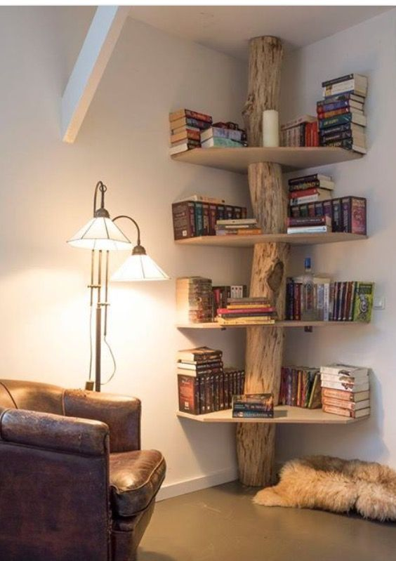 Tree Trunk Corner Shelving Unit Deco Maison Idees De Meubles Idee De Decoration