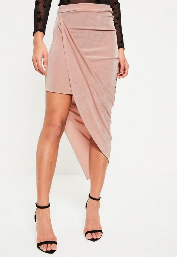 2d2d18fa7f Step out in style this season with this rose pink slinky midi skirt! With  ruched feature to the side and asymmetric finish - this beaut is high on  our wish ...