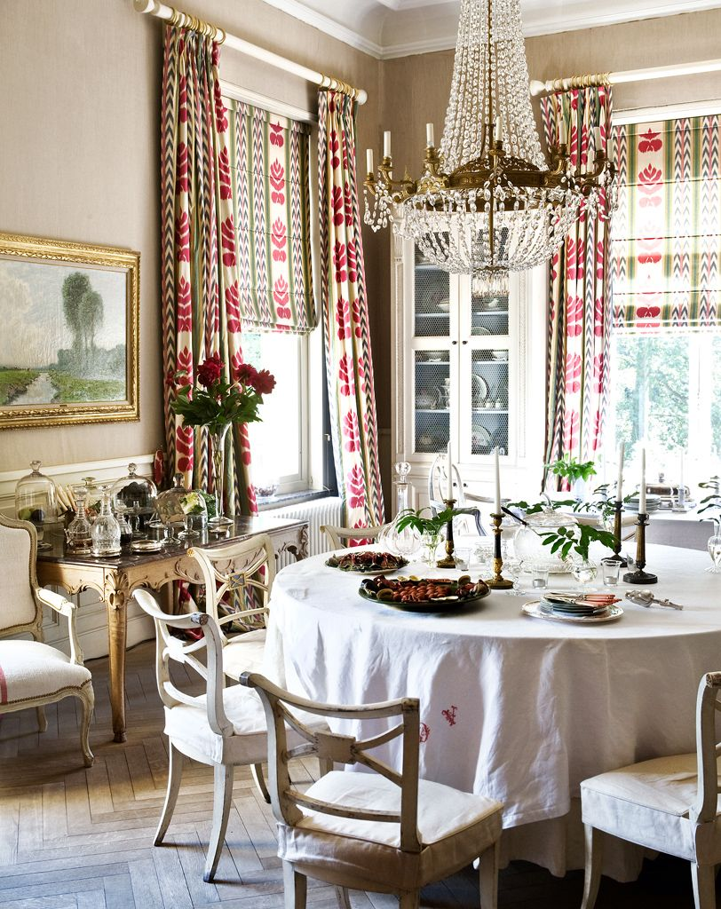 cocoa-colored walls & Brunschwig & Fils print on drapes and shades, parquet floor