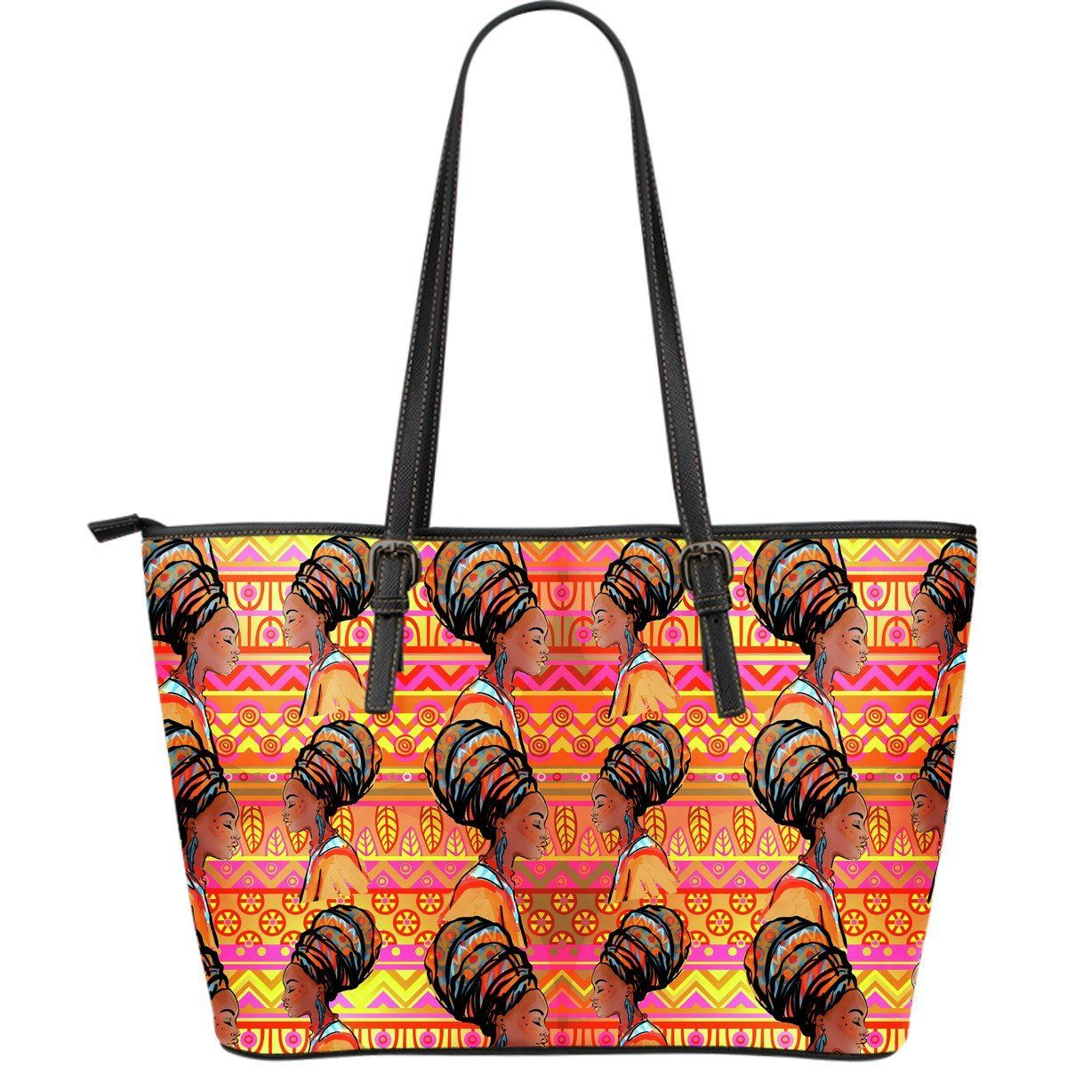 African Girl Aztec Large Leather Tote Bag #aztec