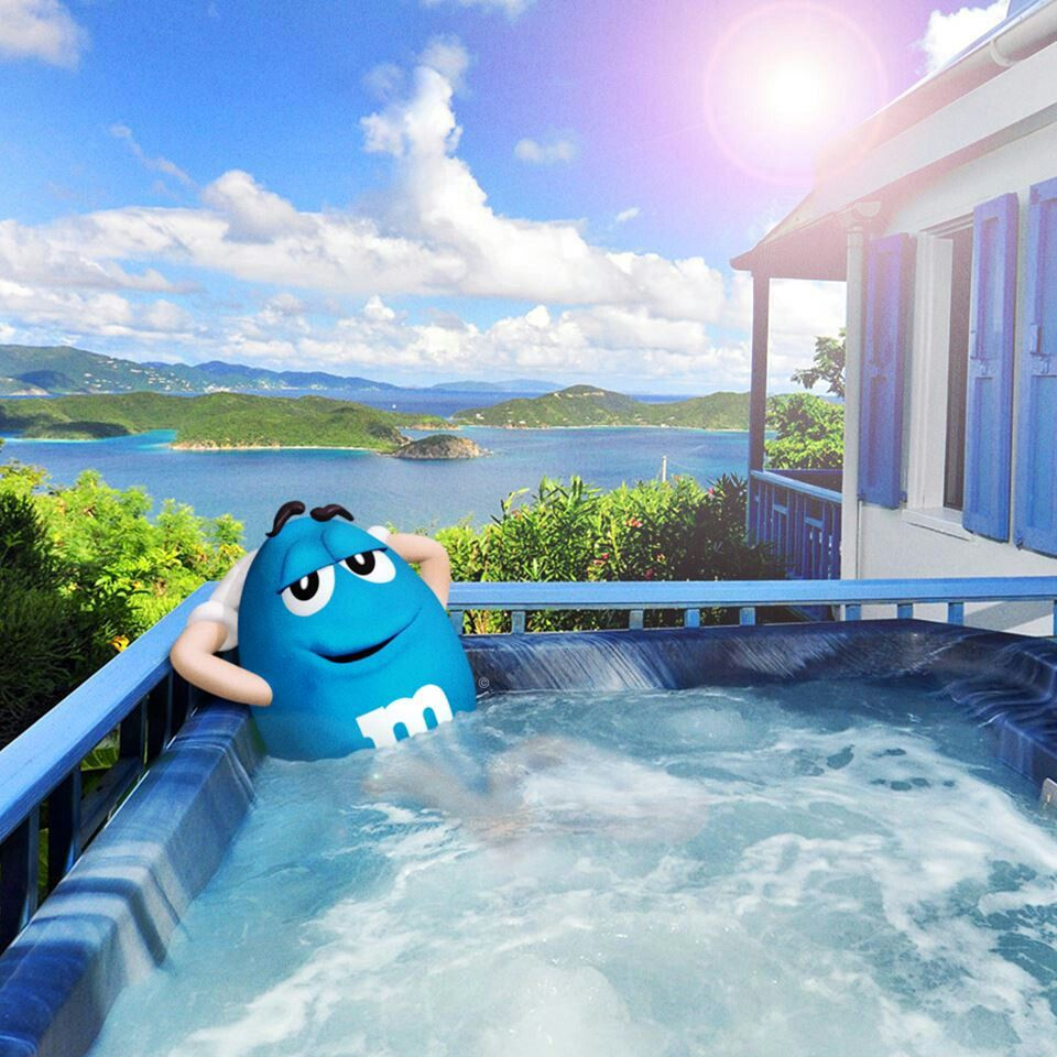 M&M Blue soaking in the Hot Tub | Peanut M&M\'s | Pinterest