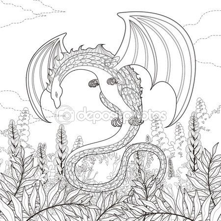Página para colorear dragón de misterio — Vector de stock | Dragones ...