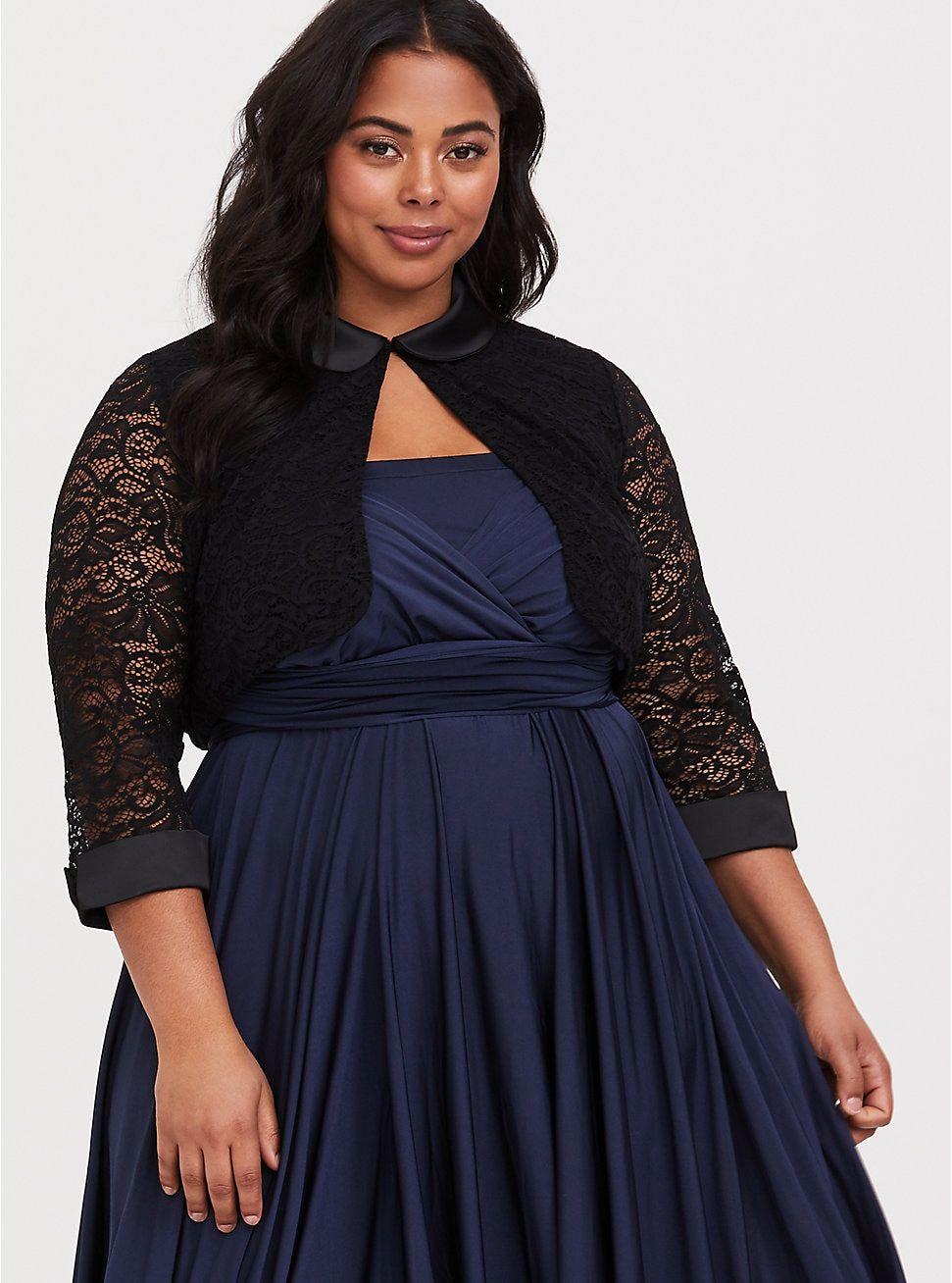 Retro Chic Black Lace Shrug | Sweaters | Lace shrug, Lace, Shrug for ...