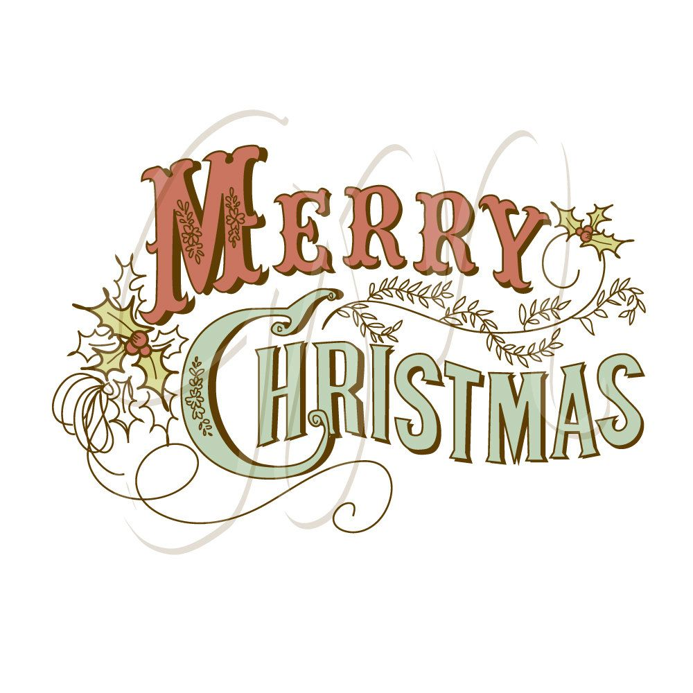 Christmas Hand Drawn Cards Digital Collage Calligraphy Retro