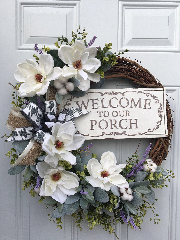 Photo of Peasant wreath, rustic wreath, lamb ear wreath, magnolia wreath, cotton wreath, eucalyptus wreath, farmhouse decor, magnolia welcome