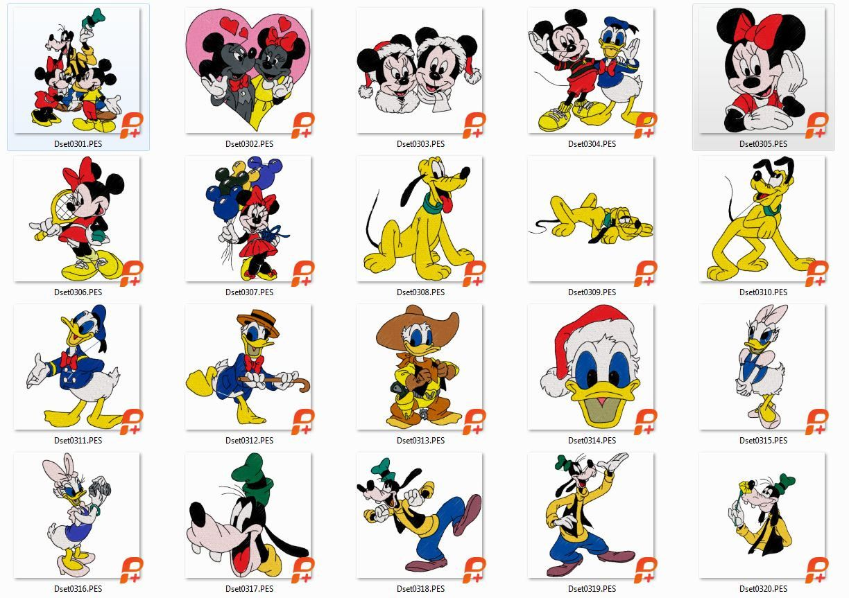 20 Micky Mouse And Friends 2, Embroidery Designs, Instant