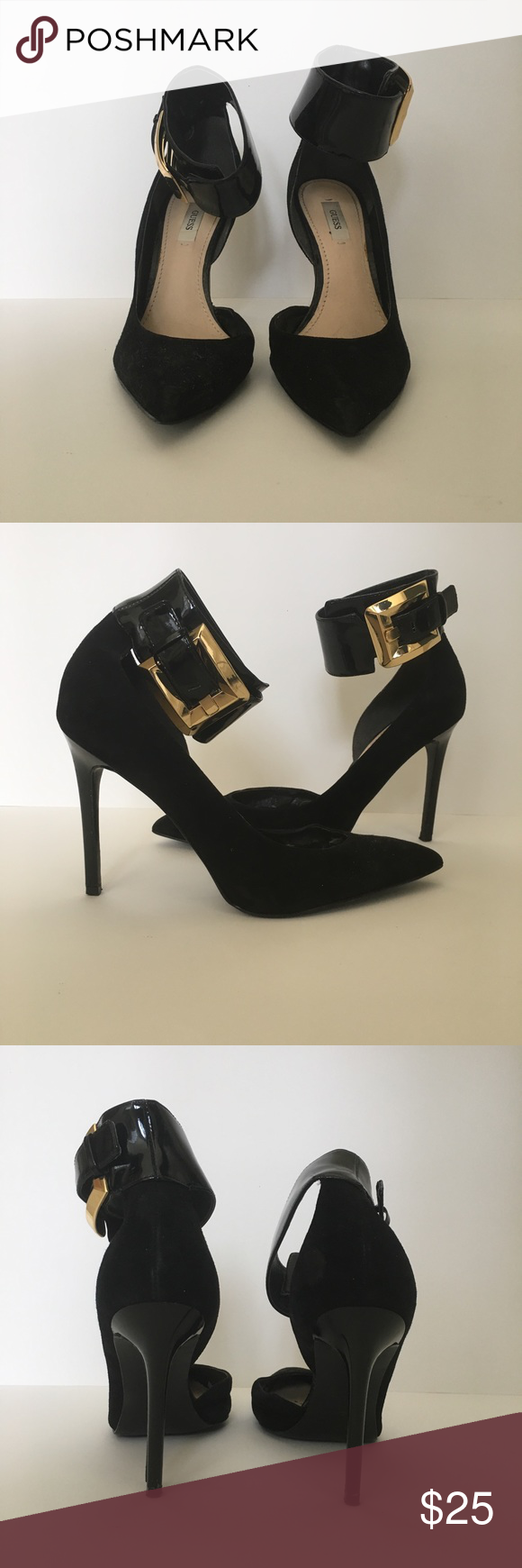 Guess black suede heel with patent