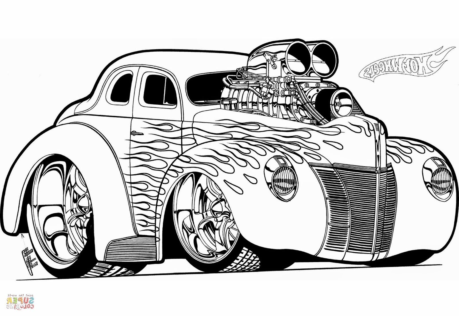Hot Rod Coloring Pages Gambar