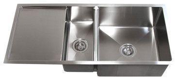 42 Inch Stainless Steel Undermount Double Bowl Kitchen Sink With Drain Board Modern Kitchen S Double Bowl Kitchen Sink Undermount Kitchen Sinks Drainboard Sink