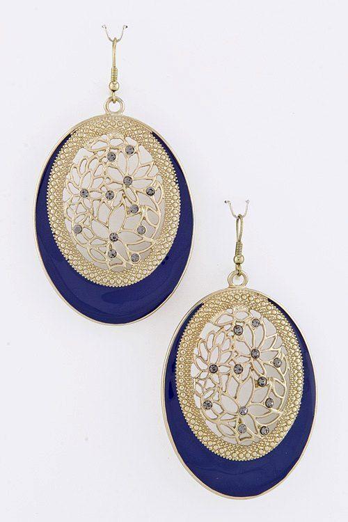 earrings in navy/gold