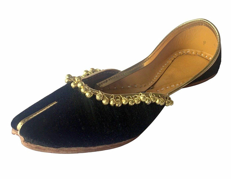 Step n Style JUTTI Zapatillas de piel Para Hombre Mojari Khussa hecho a mano india estilo Punjabi, color Marrón, talla 41