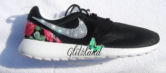 Swarovski Nike Girls / Women Black & White Roshe w/ red flower print heel Nike  Roshe Run Blinged with SWAROVSKI® Crystals