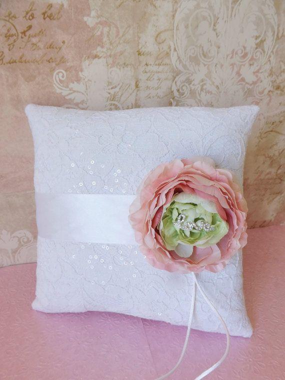 Vintage Glam Ranunculas Wedding Ring Pillow by creations4brides, $44.00