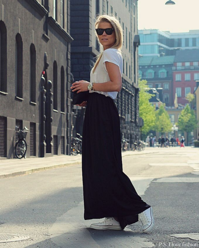 maxi skirt with trainers